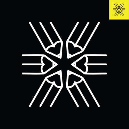 Pencils logo design in Line Art Style that form star-shape, Logo vector