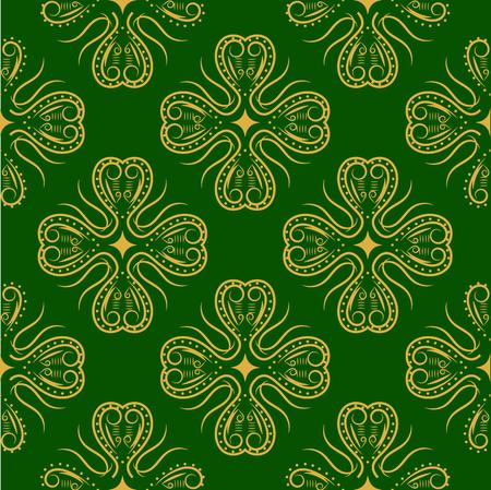 shamrock seamless: Golden Shamrock. Patrick day simbol on the green background. Vector  seamless illustration