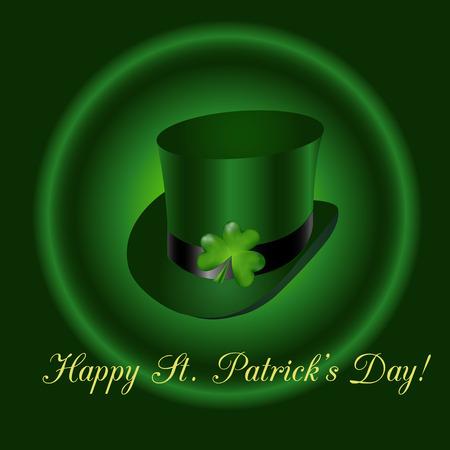 threeleaf: Irish top hat with three-leaf clover and text congratulation St. Patricks Day Illustration