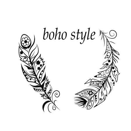 boho: Vector Illustration  with feathers in boho style Illustration