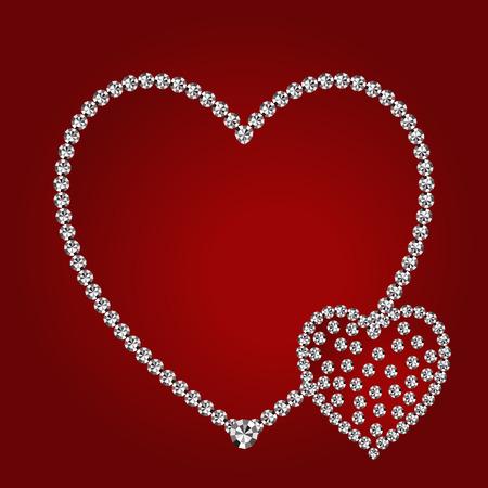 shiny hearts: Vector shiny diamond hearts on red background
