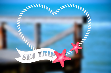 summertime: Sea trip - summer poster. Vector illustration on the blurred background