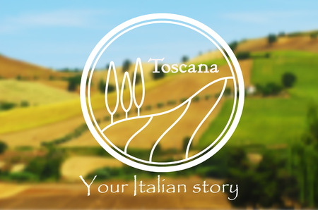 tuscan: Toscana. Logo of Italian landscape on the blurred background