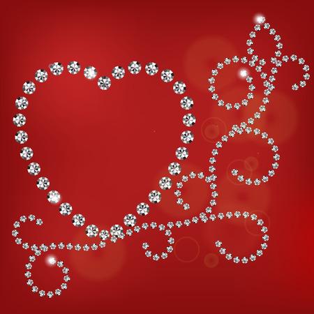 coeur diamant: Vecteur brillant diamant coeur sur fond rouge Illustration