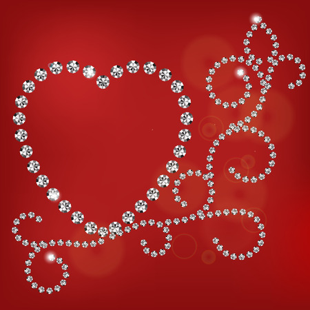 diamond heart: Vector shiny diamond heart on red background