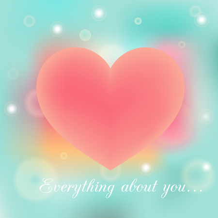 positive thought: Everything about you vector poster on blue and pink blurred background Illustration