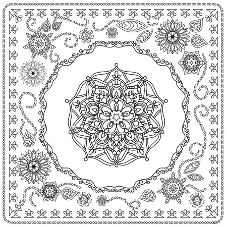 decorated mandala with flowers and decorative elements. Image for adults coloring page. illustration Ilustrace