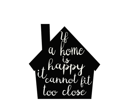 homely: typography poster with home. Sweet home lettering card.