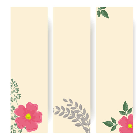 rosebuds: Set of web banners with dogroses and green leaves