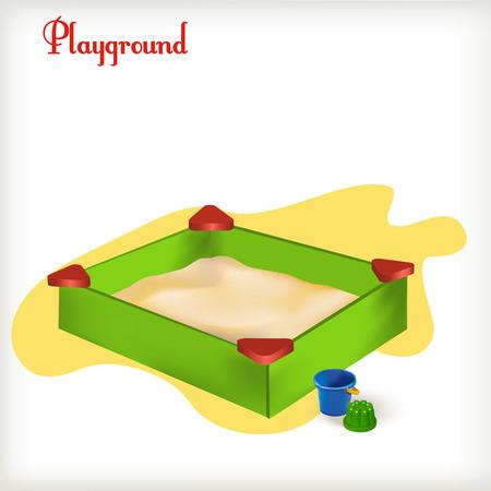 sandbox: illustration Green sandbox full of sand with toys