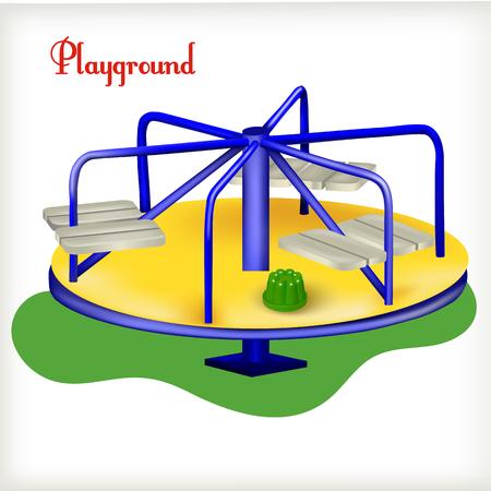 illustration Blue merry-go-round on the playground Illustration