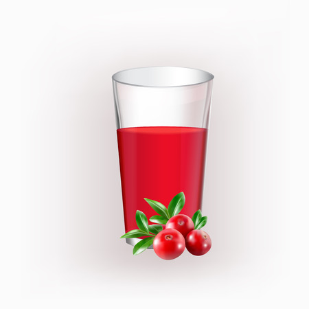 cranberries: Glass cup with juice of cranberries on isolated on the white background