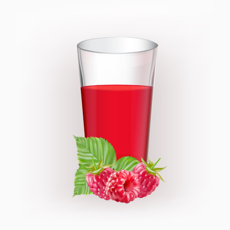rasberry: Glass cup with juice of rasberries isolated on the white background Illustration