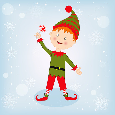 dwarf christmas: Cute Christmas elf with candy on the winter background Illustration
