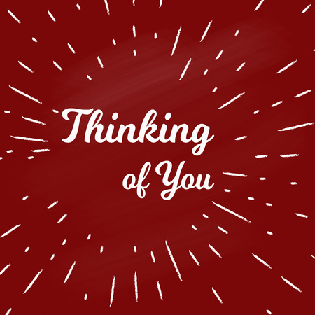 Thinking of you hand lettering design on the red background