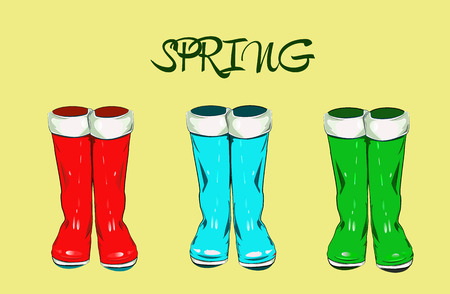Color rubber boots for wet weather. Vector illustration.