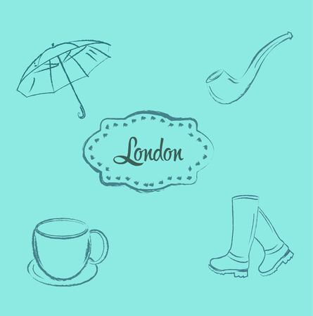 London city doodles elements collection. Illustration