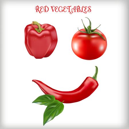 Set of red vegetables