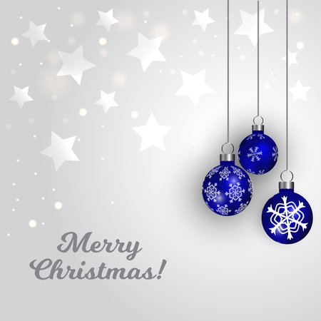 Winter Christmas Background. Silver stars and blue balls