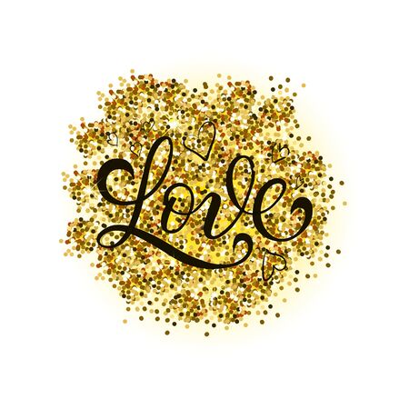 Gold vector glitter heart. Love design card poster postcard background
