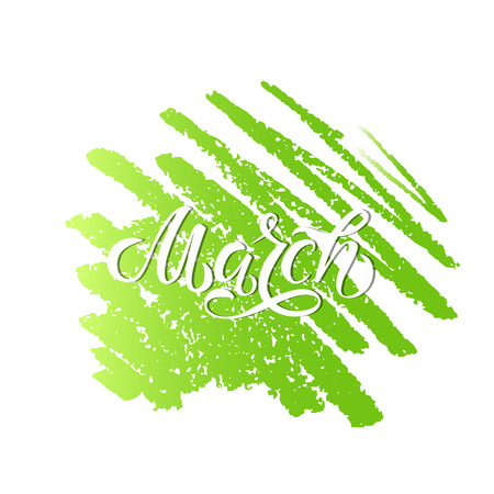 SPRING MONTH VECTOR HAND LETTERING. HELLO MARCH. MARCH MONTH