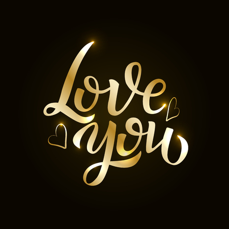 Love gold hand drawn brush calligraphy. Vector illustration EPS10 Ilustrace