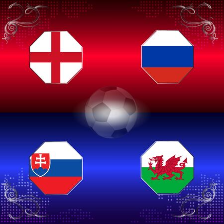 UEFA EURO 2016 football with flags of group B