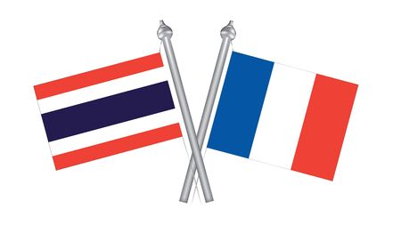 Flag of Thailand and France. Cross flagof Thailand and France
