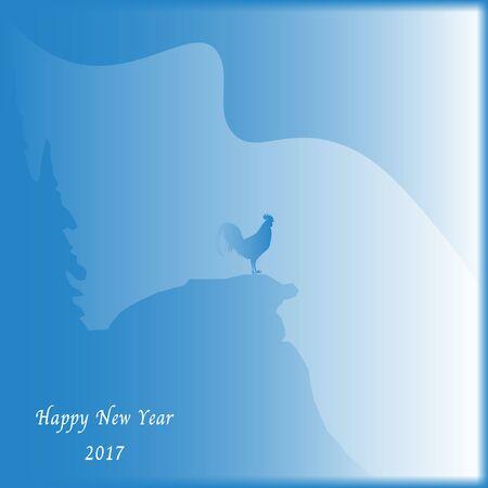 New Year 2017 background with chicken Illusztráció