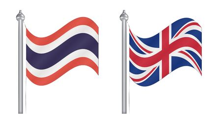 Flag of Thailand and United Kingdom. Abstract Flying flag for International relationship