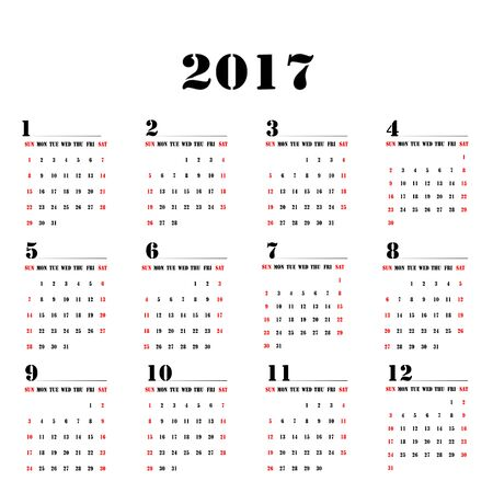 Calendar of the year 2017 Monthly with number Illustration