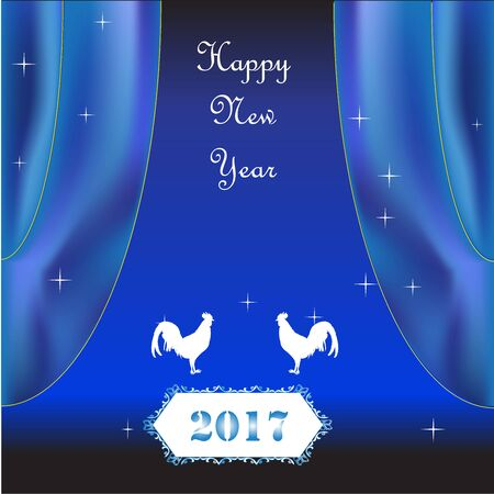 New Year 2017 with chicken and curtin on blue color bright background