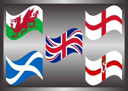Flying flag of country in United Kingdom, United Kingdom Member on golden frame
