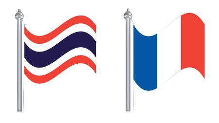 Flag of Thailand and France. Flying flag for International relationship