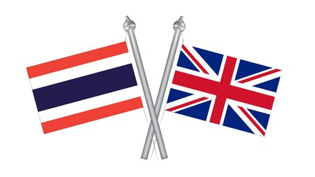 Flag of Thailand and United Kingdom. Cross flag for International relationship