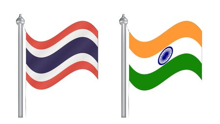 Flag of Thailand and India. Flying flag for International relationship