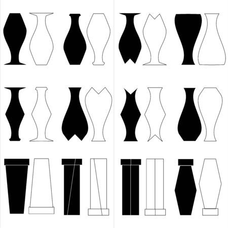 Vector set of black and white vase  and glasses design