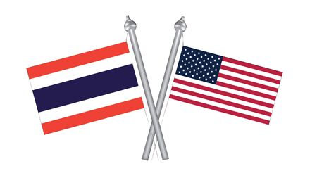 Flag of Thailand and United States America. Cross flag for International relationship