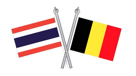 Flag of Thailand and Belgium. Cross flag for International relationship