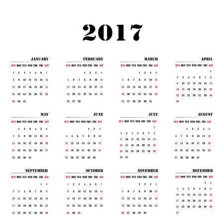 Calendar of the year 2017 Monthly with name