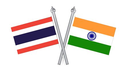 Flag of Thailand and India. Cross flag for International relationship  イラスト・ベクター素材