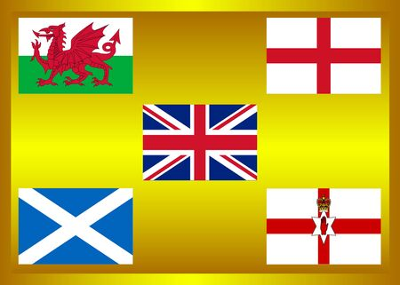 Flag of country in United Kingdom, United Kingdom Member on golden frame