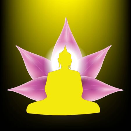 Silhouette of Buddha sitting with lotus petals flower background