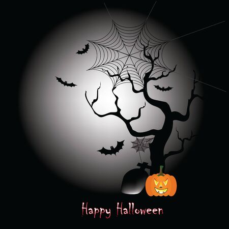 Happy Halloween background in the full moon night in the end of October Stock Illustratie