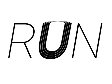 lanes: Run concept text with simple black lettering and a creative curved sports track with lanes forming the U isolated on a white background, vector sign or icon