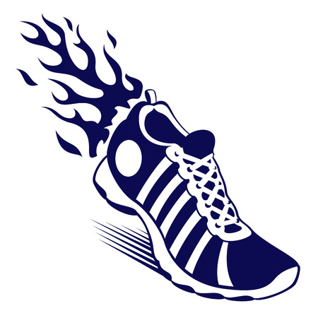 Blue and white trainer or running shoe with flames and motion lines at the rear over white with copy space, vector illustration Illustration