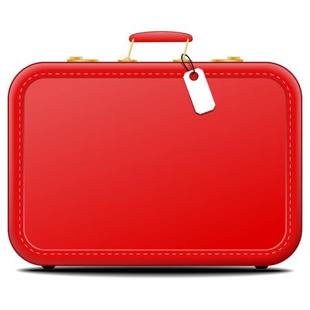 Seitenansicht auf einzelne altmodischen roten Koffer mit leeren Tag auf isolierte weißem Hintergrund mit Schatten abgesetzt Standard-Bild - 59003627