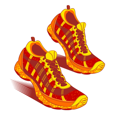 though: Pair of brightly colored sneakers in yellow, red, orange and blue with raised heels as though walking over white, vector illustration