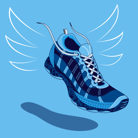 shoe laces: Single blue sneaker or sports shoe with flying laces floating above a drop shadow over a light blue background, vector illustration