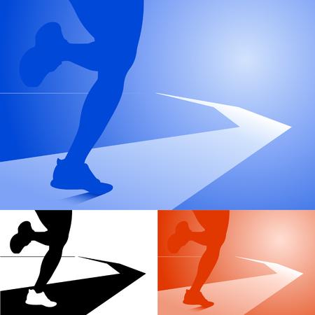 Beine eines fit muskulösen Athleten, die entlang einer Spur oder Bahn auf einer Steigung farbigen Hintergrund in drei Farbvariationen verschwindet bis unendlich, Vektor-Silhouette Standard-Bild - 59003737